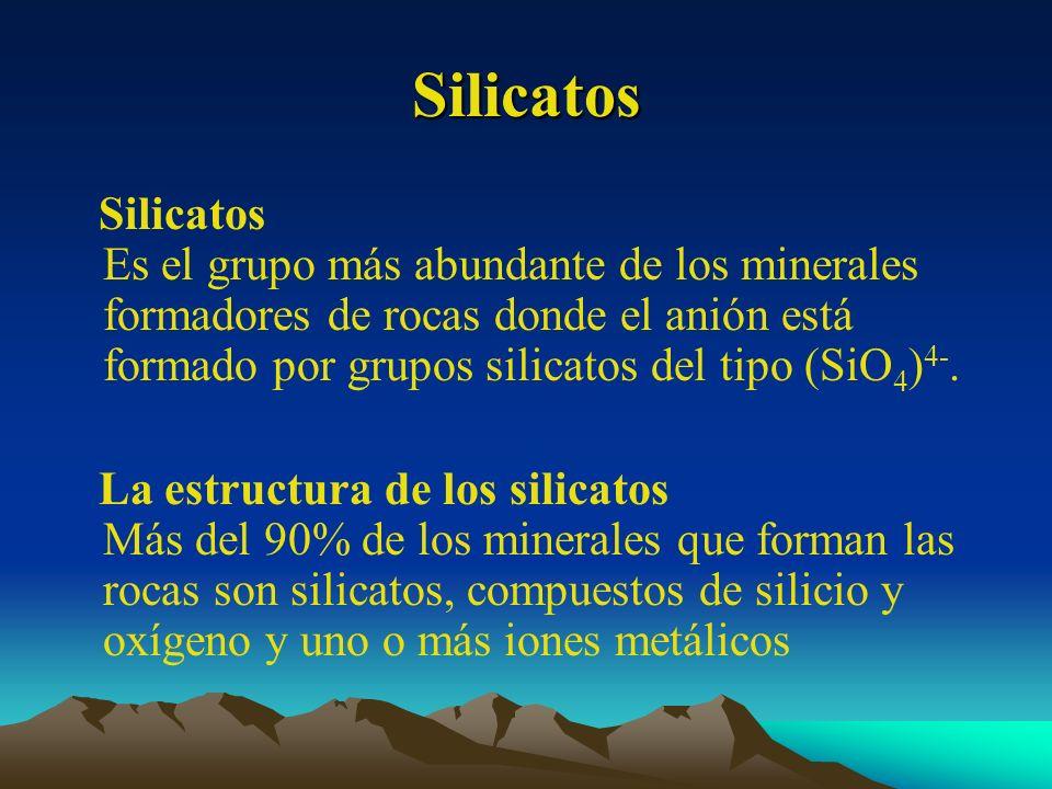 Silicatos Silicatos Es el grupo más abundante de los minerales formadores de rocas donde el anión está formado por grupos silicatos del tipo (SiO 4 )