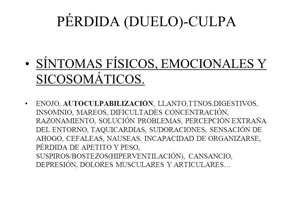 PÉRDIDA (DUELO)-CULPA SÍNTOMAS FÍSICOS, EMOCIONALES Y SICOSOMÁTICOS. ENOJO, AUTOCULPABILIZACIÓN, LLANTO,TTNOS.DIGESTIVOS, INSOMNIO, MAREOS, DIFICULTAD