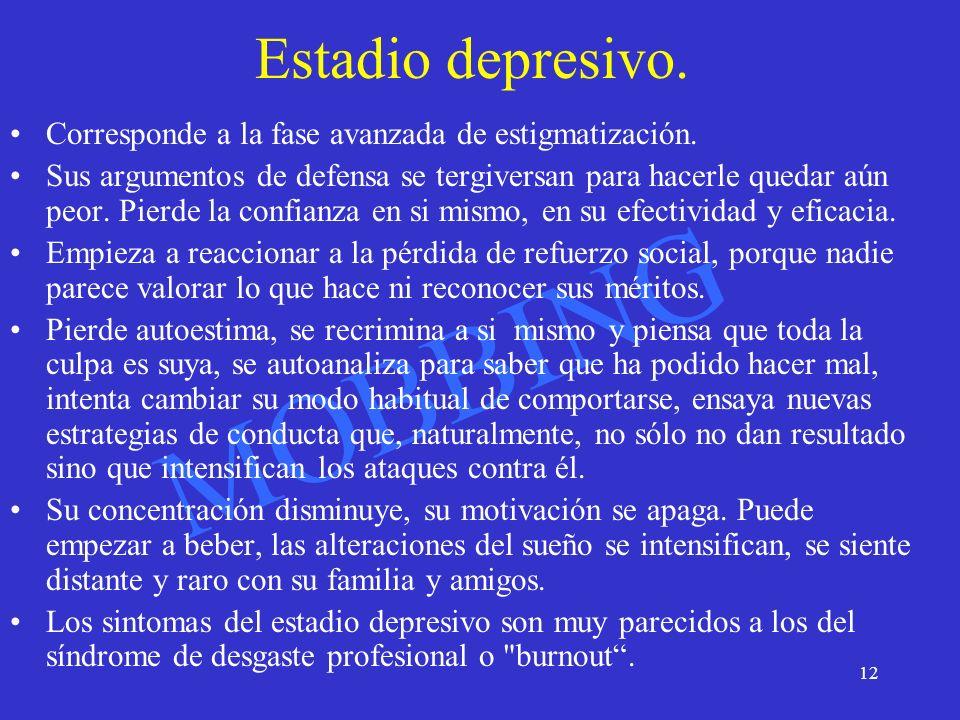 MOBBING 13 Burnout Cansancio emocional, que se traduce por agotamiento físico y psíquico, abatimiento, sentimientos de impotencia y desesperanza, desarrollo de un autoconcepto negativo y actitudes negativas hacia el trabajo y la vida en general.
