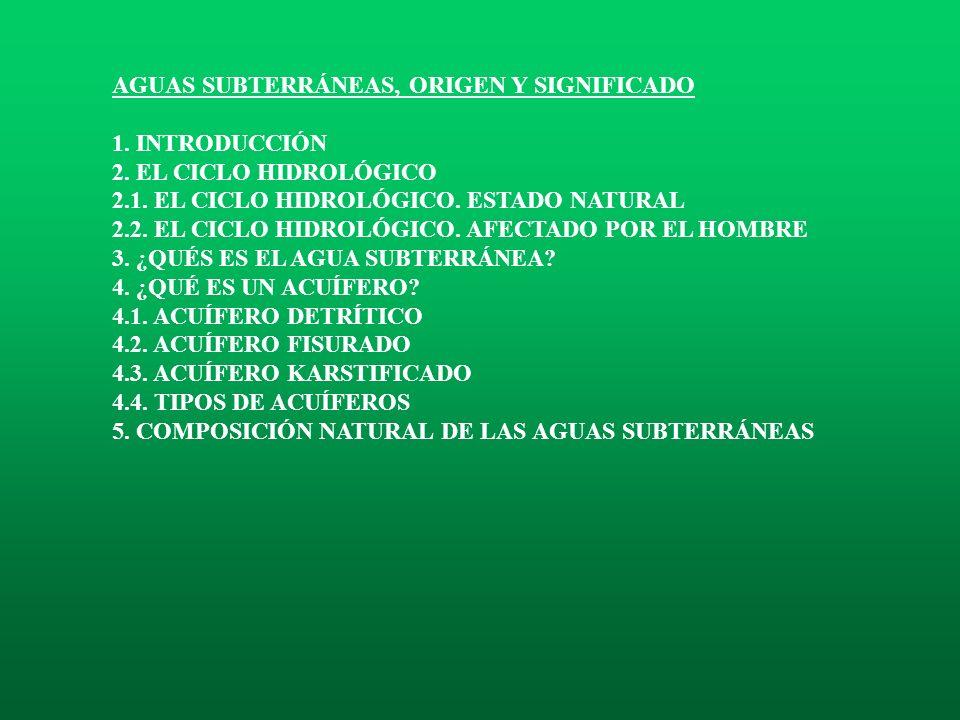 AGUAS SUBTERRÁNEAS, ORIGEN Y SIGNIFICADO 1.INTRODUCCIÓN 2.