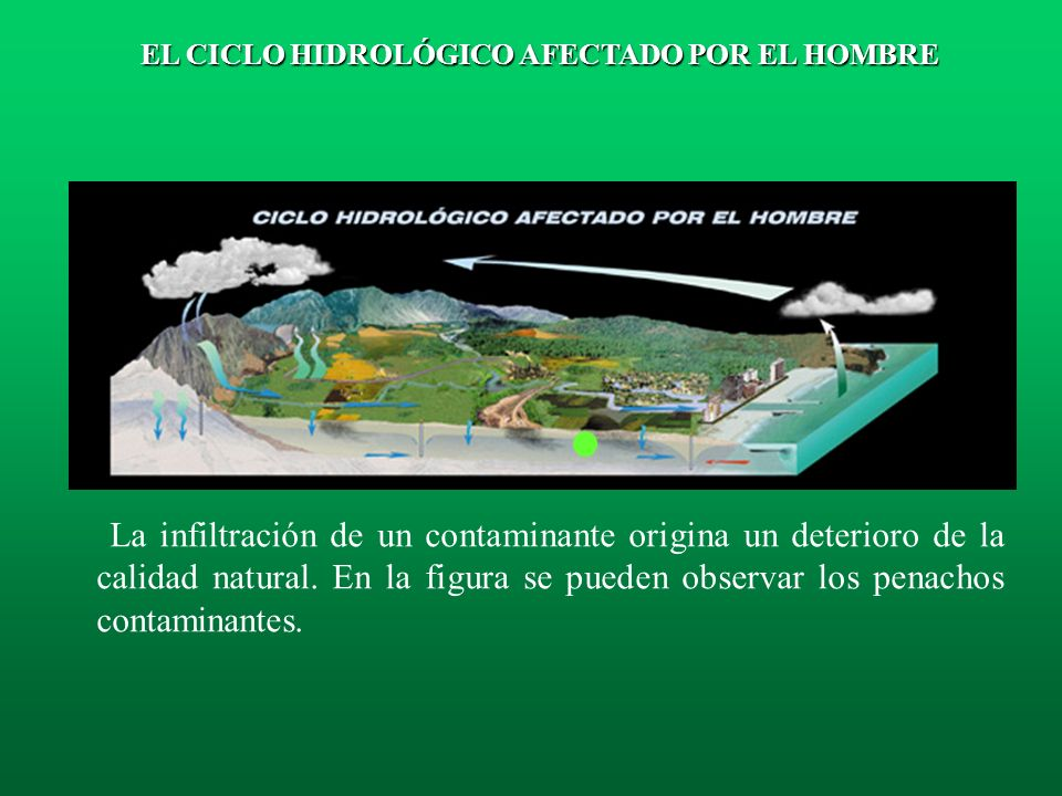 Avance del agua del mar en un acuífero: Este fenómeno se denomina intrusión marina. EL CICLO HIDROLÓGICO AFECTADO POR EL HOMBRE
