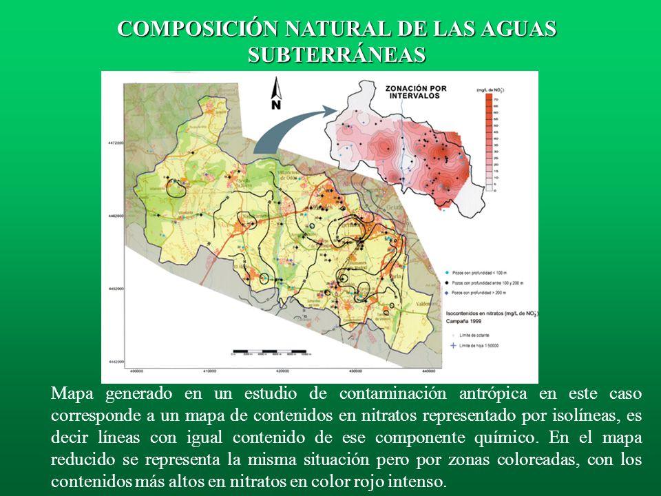 La actividad humana puede afectar, a veces intensamente o con cierta gravedad, a la composición química natural del agua que recarga a los acuíferos,