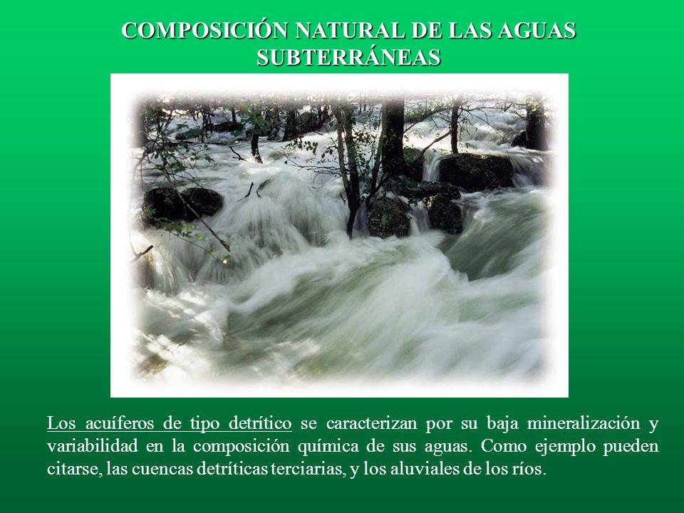 Las aguas subterráneas procedentes de los acuíferos carbonatados son generalmente bicarbonatadas cálcicas y magnésicas. COMPOSICIÓN NATURAL DE LAS AGU