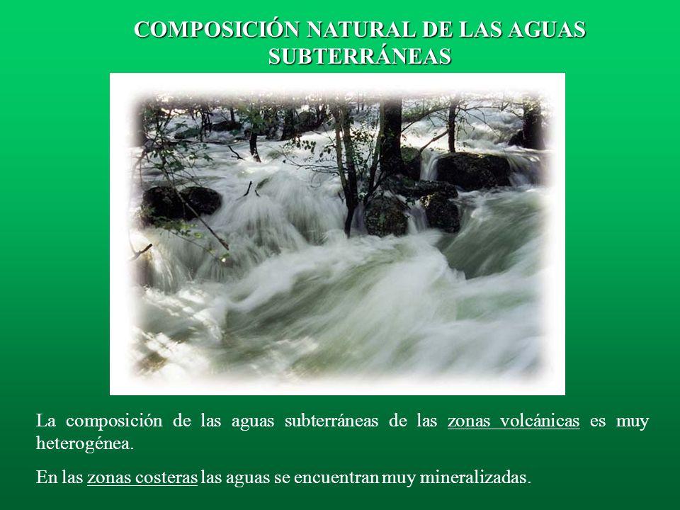 Los acuíferos de tipo detrítico se caracterizan por su baja mineralización y variabilidad en la composición química de sus aguas. Como ejemplo pueden