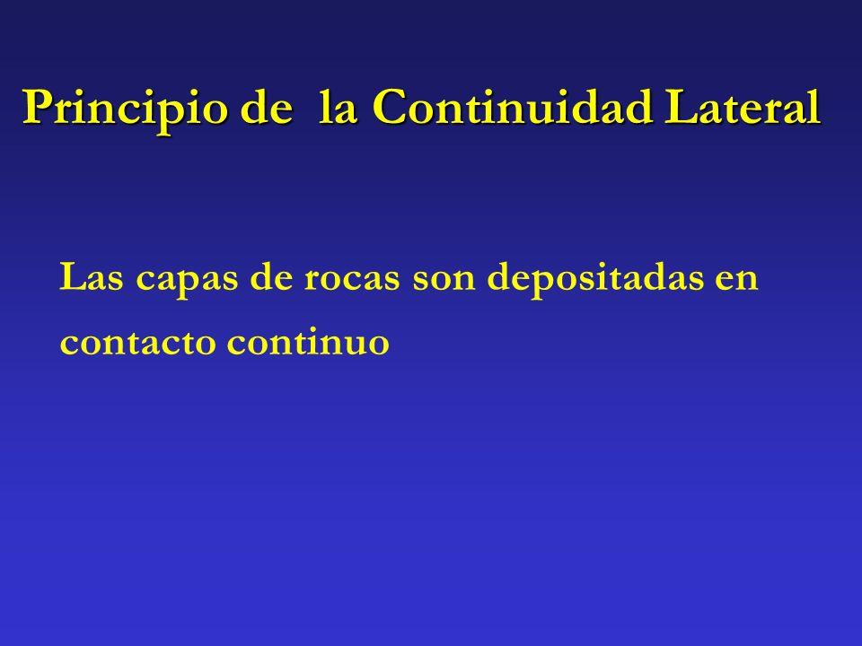 Principio de la Continuidad Lateral Las capas de rocas son depositadas en contacto continuo