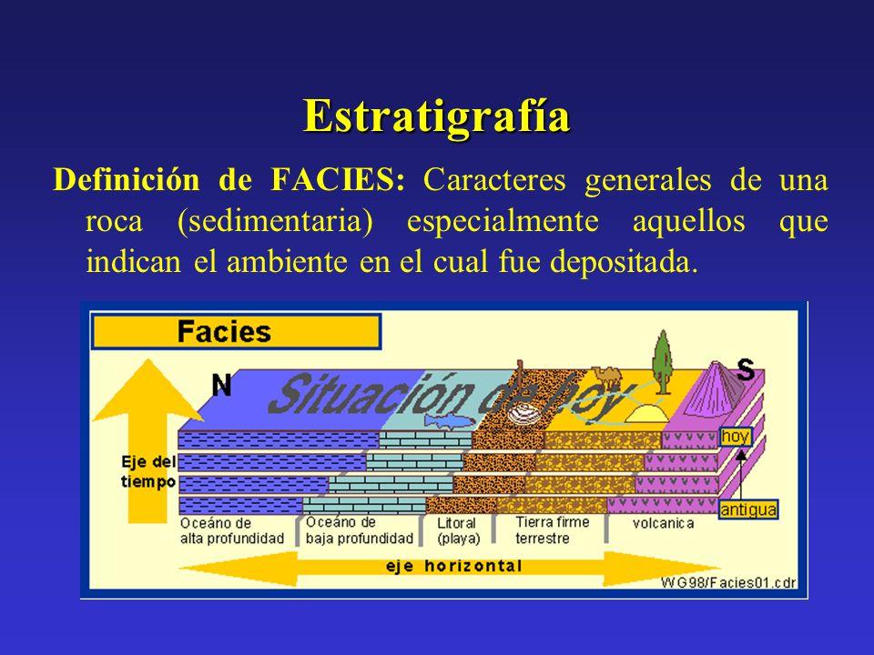 Estratigrafía Definición de FACIES: Caracteres generales de una roca (sedimentaria) especialmente aquellos que indican el ambiente en el cual fue depo
