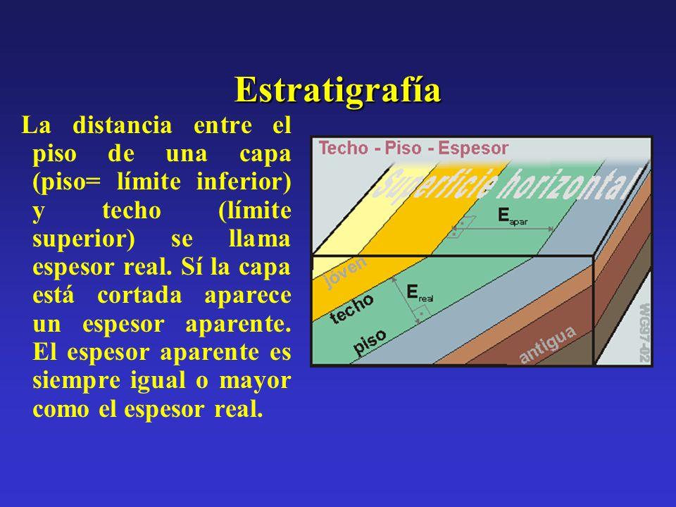 Estratigrafía La distancia entre el piso de una capa (piso= límite inferior) y techo (límite superior) se llama espesor real. Sí la capa está cortada