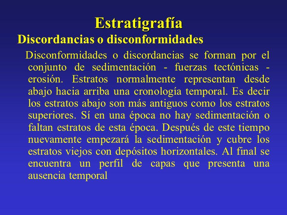 Estratigrafía Discordancias o disconformidades Disconformidades o discordancias se forman por el conjunto de sedimentación - fuerzas tectónicas - eros