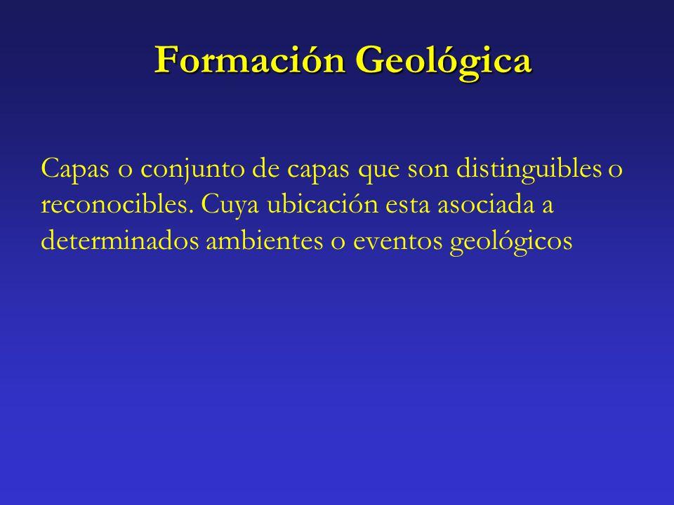 Formación Geológica Capas o conjunto de capas que son distinguibles o reconocibles. Cuya ubicación esta asociada a determinados ambientes o eventos ge
