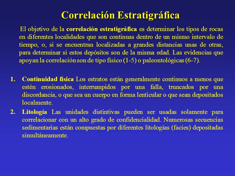 Correlación Estratigráfica El objetivo de la correlación estratigráfica es determinar los tipos de rocas en diferentes localidades que son continuas d