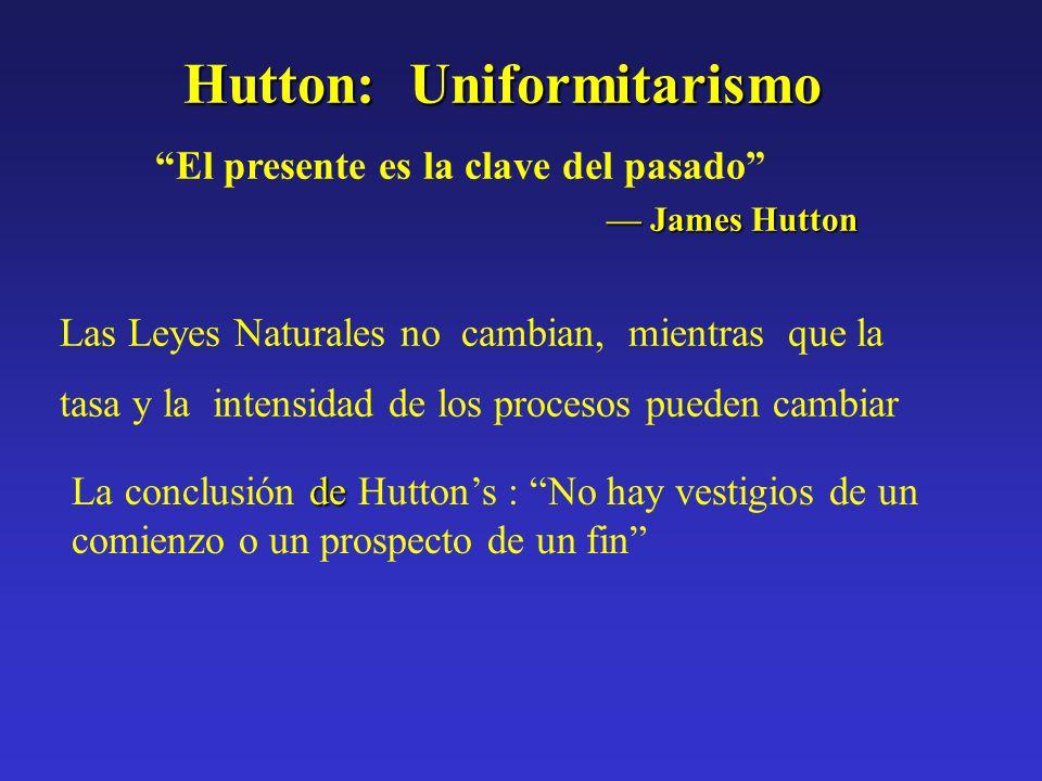 Hutton: Uniformitarismo El presente es la clave del pasado James Hutton James Hutton Las Leyes Naturales no cambian, mientras que la tasa y la intensi