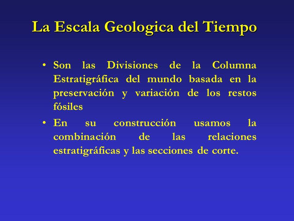 La Escala Geologica del Tiempo Son las Divisiones de la Columna Estratigráfica del mundo basada en la preservación y variación de los restos fósiles E