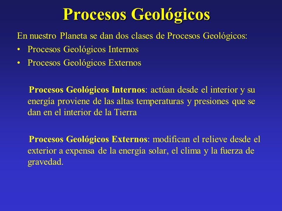 Procesos Geológicos En nuestro Planeta se dan dos clases de Procesos Geológicos: Procesos Geológicos Internos Procesos Geológicos Externos Procesos Ge