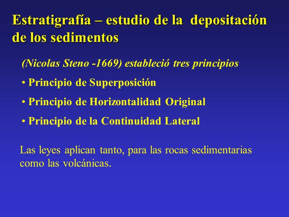 Estratigrafía – estudio de la depositación de los sedimentos (Nicolas Steno -1669) estableció tres principios Principio de Superposición Principio de