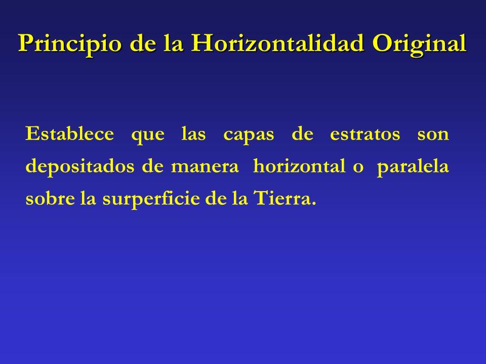 Principio de la Horizontalidad Original Establece que las capas de estratos son depositados de manera horizontal o paralela sobre la surperficie de la