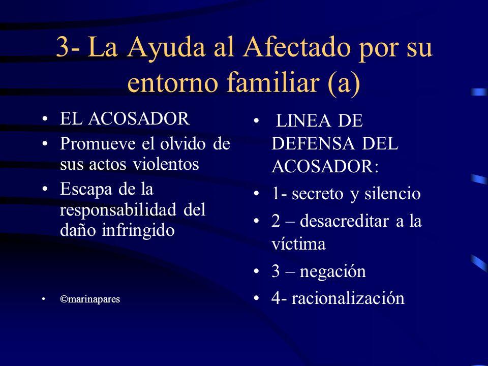 3- La Ayuda al Afectado por su entorno familiar (a) EL ACOSADOR Promueve el olvido de sus actos violentos Escapa de la responsabilidad del daño infrin