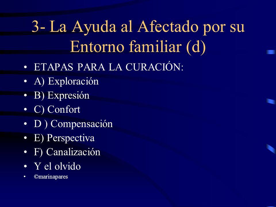 3- La Ayuda al Afectado por su Entorno familiar (d) ETAPAS PARA LA CURACIÓN: A) Exploración B) Expresión C) Confort D ) Compensación E) Perspectiva F)