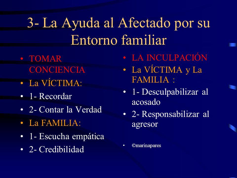 3- La Ayuda al Afectado por su Entorno familiar TOMAR CONCIENCIA La VÍCTIMA: 1- Recordar 2- Contar la Verdad La FAMILIA: 1- Escucha empática 2- Credib