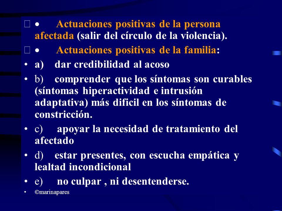 Actuaciones positivas de la persona afectada (salir del círculo de la violencia). Actuaciones positivas de la familia: a) dar credibilidad al acoso b)