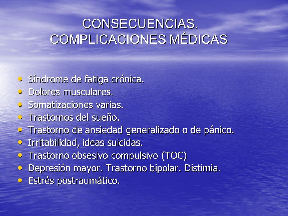 CONSECUENCIAS. COMPLICACIONES MÉDICAS CONSECUENCIAS. COMPLICACIONES MÉDICAS Síndrome de fatiga crónica. Síndrome de fatiga crónica. Dolores musculares