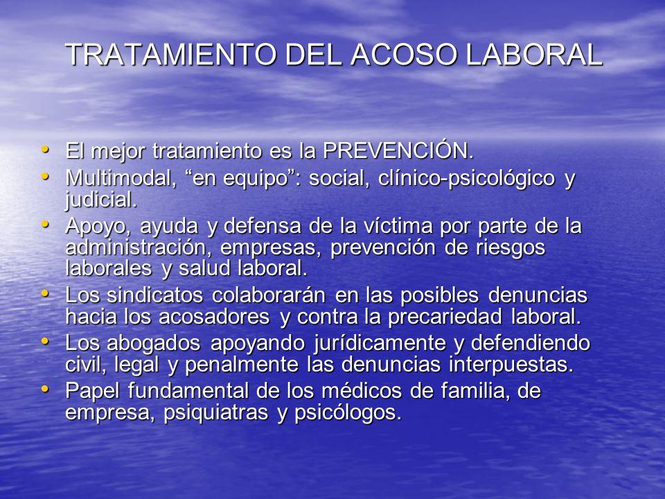 TRATAMIENTO DEL ACOSO LABORAL TRATAMIENTO DEL ACOSO LABORAL El mejor tratamiento es la PREVENCIÓN. El mejor tratamiento es la PREVENCIÓN. Multimodal,