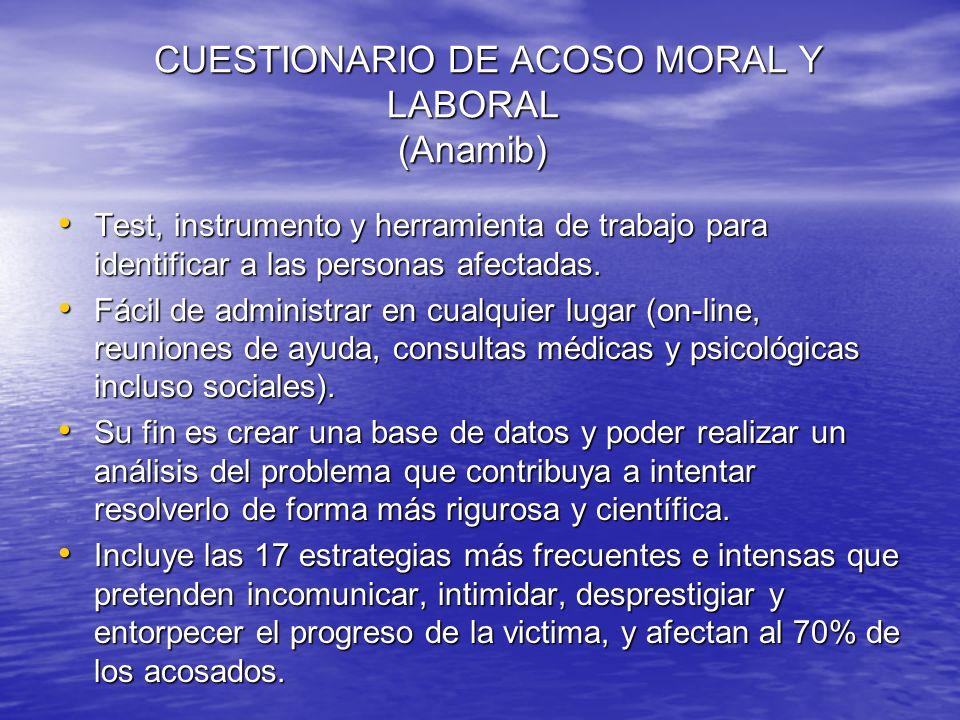 CUESTIONARIO DE ACOSO MORAL Y LABORAL (Anamib) Test, instrumento y herramienta de trabajo para identificar a las personas afectadas. Test, instrumento