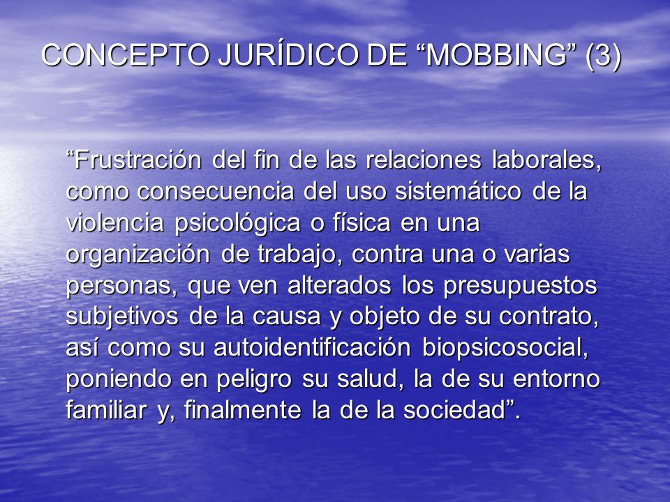 CONCEPTO JURÍDICO DE MOBBING (3) CONCEPTO JURÍDICO DE MOBBING (3) Frustración del fin de las relaciones laborales, como consecuencia del uso sistemáti