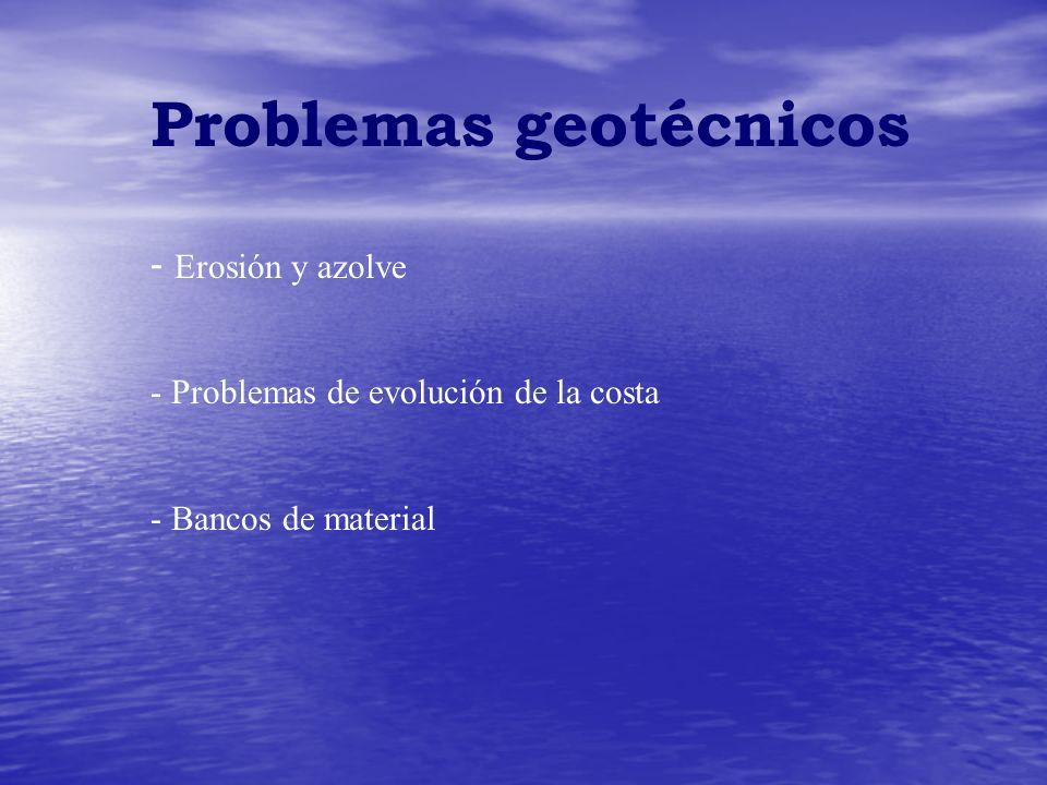 Problemas geotécnicos - Erosión y azolve - Problemas de evolución de la costa - Bancos de material