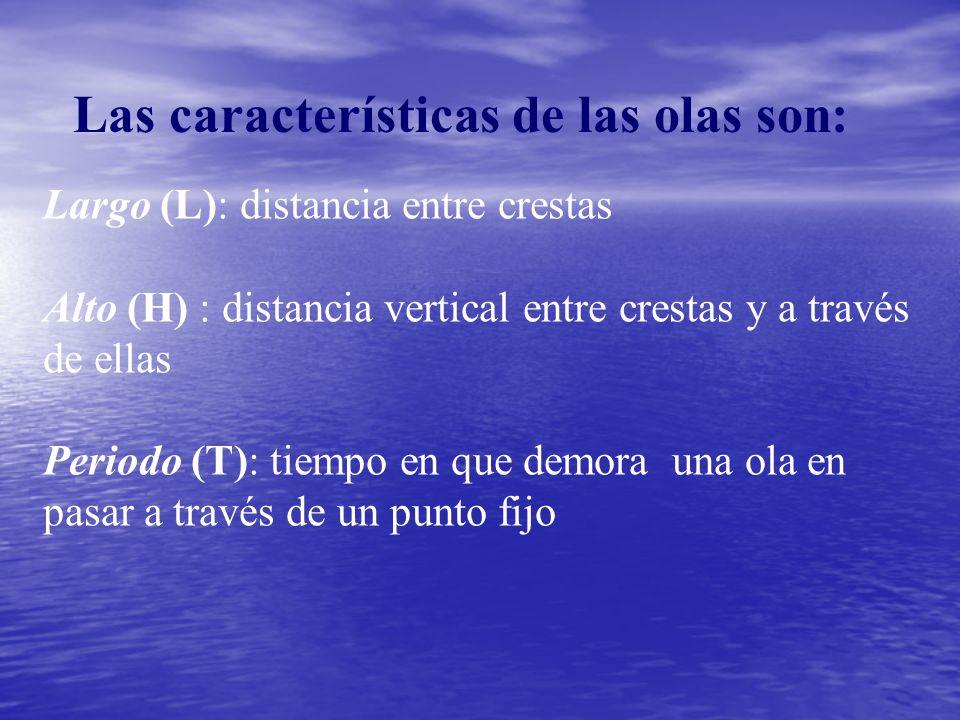 Las características de las olas son: Largo (L): distancia entre crestas Alto (H) : distancia vertical entre crestas y a través de ellas Periodo (T): tiempo en que demora una ola en pasar a través de un punto fijo