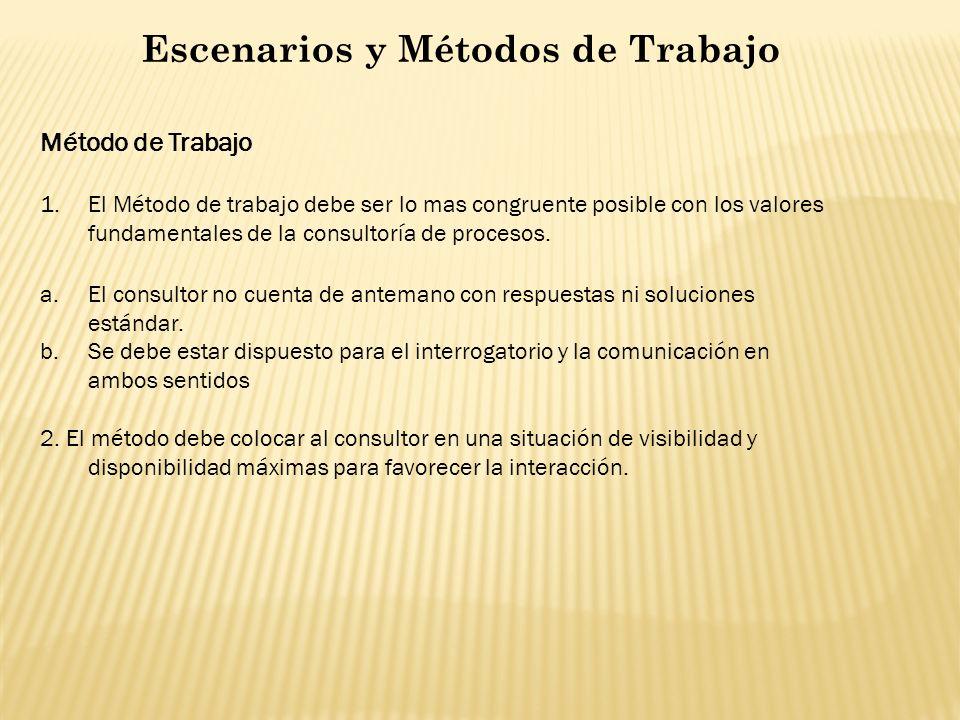Escenarios y Métodos de Trabajo Método de Trabajo 1.El Método de trabajo debe ser lo mas congruente posible con los valores fundamentales de la consul