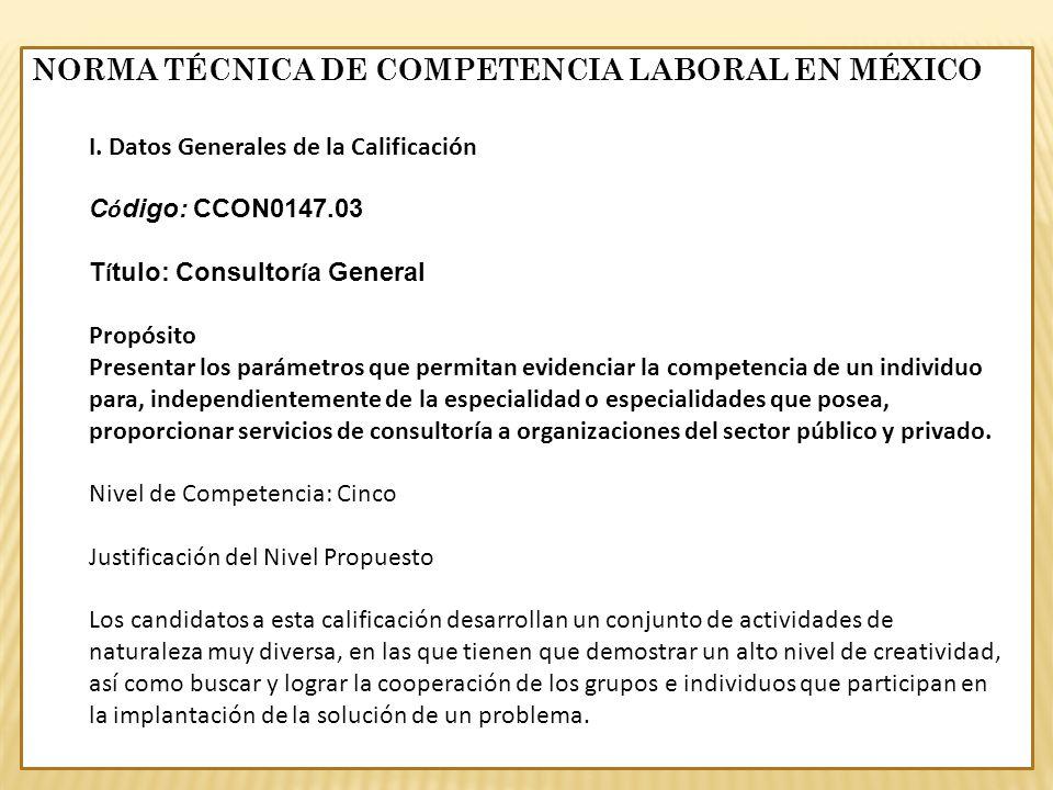 I. Datos Generales de la Calificación C ó digo: CCON0147.03 T í tulo: Consultor í a General Propósito Presentar los parámetros que permitan evidenciar