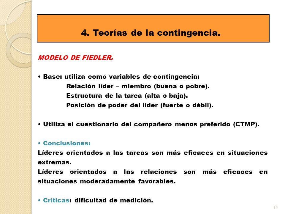 15 4. Teorías de la contingencia. MODELO DE FIEDLER. Base: utiliza como variables de contingencia: Relación líder – miembro (buena o pobre). Estructur