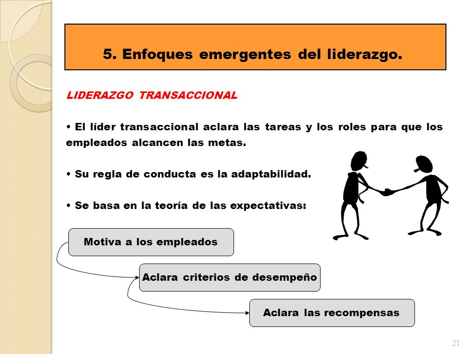 21 5. Enfoques emergentes del liderazgo. LIDERAZGO TRANSACCIONAL El líder transaccional aclara las tareas y los roles para que los empleados alcancen