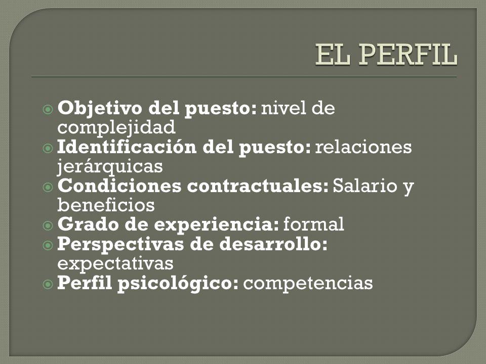 Objetivo del puesto: nivel de complejidad Identificación del puesto: relaciones jerárquicas Condiciones contractuales: Salario y beneficios Grado de e