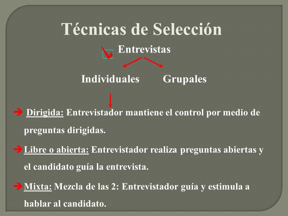 Técnicas de Selección Entrevistas Individuales Grupales Dirigida: Entrevistador mantiene el control por medio de preguntas dirigidas. Libre o abierta: