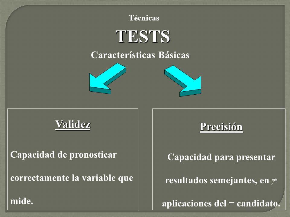 Características Básicas TESTS Técnicas Validez Capacidad de pronosticar correctamente la variable que mide. Precisión Capacidad para presentar resulta