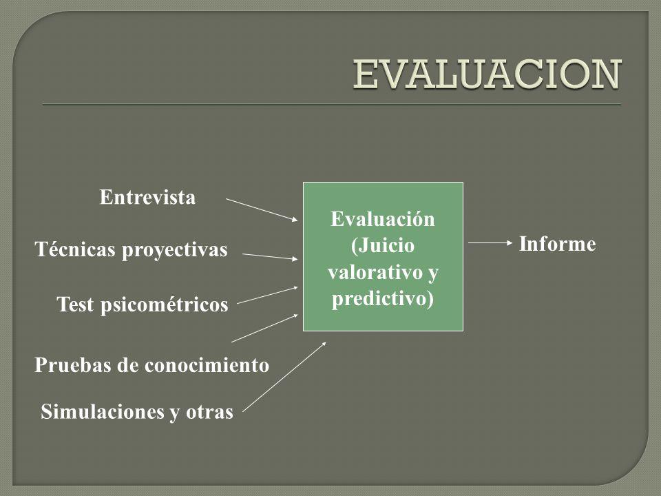 Evaluación (Juicio valorativo y predictivo) Entrevista Técnicas proyectivas Informe Pruebas de conocimiento Test psicométricos Simulaciones y otras