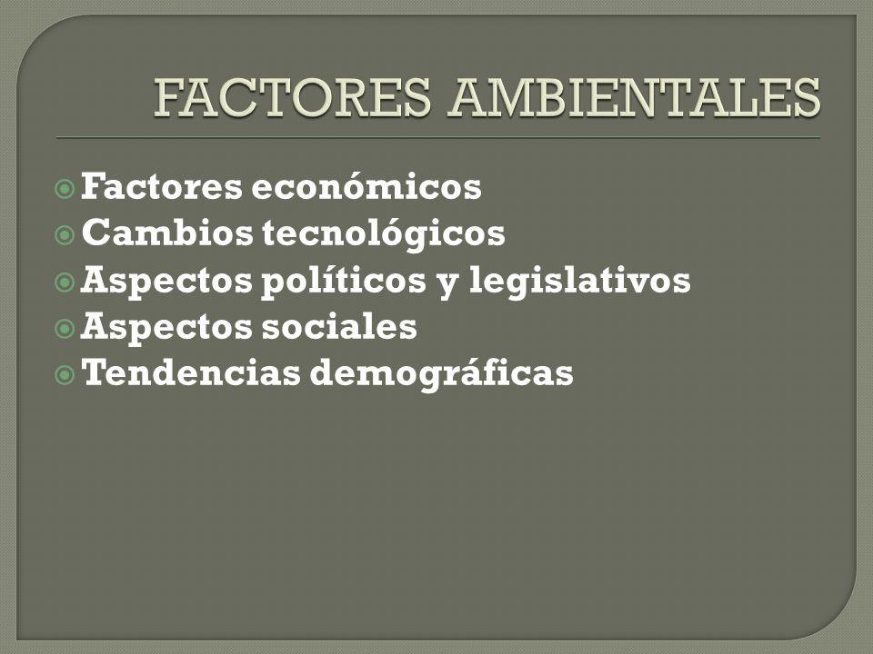 Factores económicos Cambios tecnológicos Aspectos políticos y legislativos Aspectos sociales Tendencias demográficas