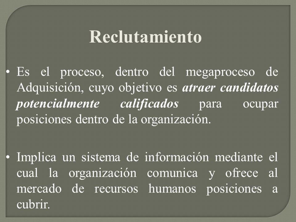 Reclutamiento Es el proceso, dentro del megaproceso de Adquisición, cuyo objetivo es atraer candidatos potencialmente calificados para ocupar posicion