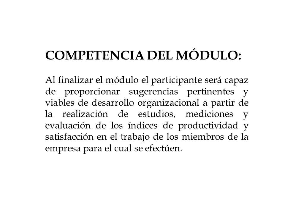 COMPETENCIA DEL MÓDULO: Al finalizar el módulo el participante será capaz de proporcionar sugerencias pertinentes y viables de desarrollo organizacion