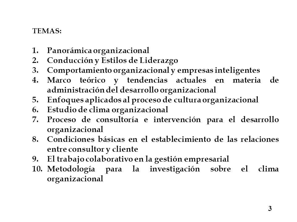 3 TEMAS: 1.Panorámica organizacional 2.Conducción y Estilos de Liderazgo 3.Comportamiento organizacional y empresas inteligentes 4.Marco teórico y ten