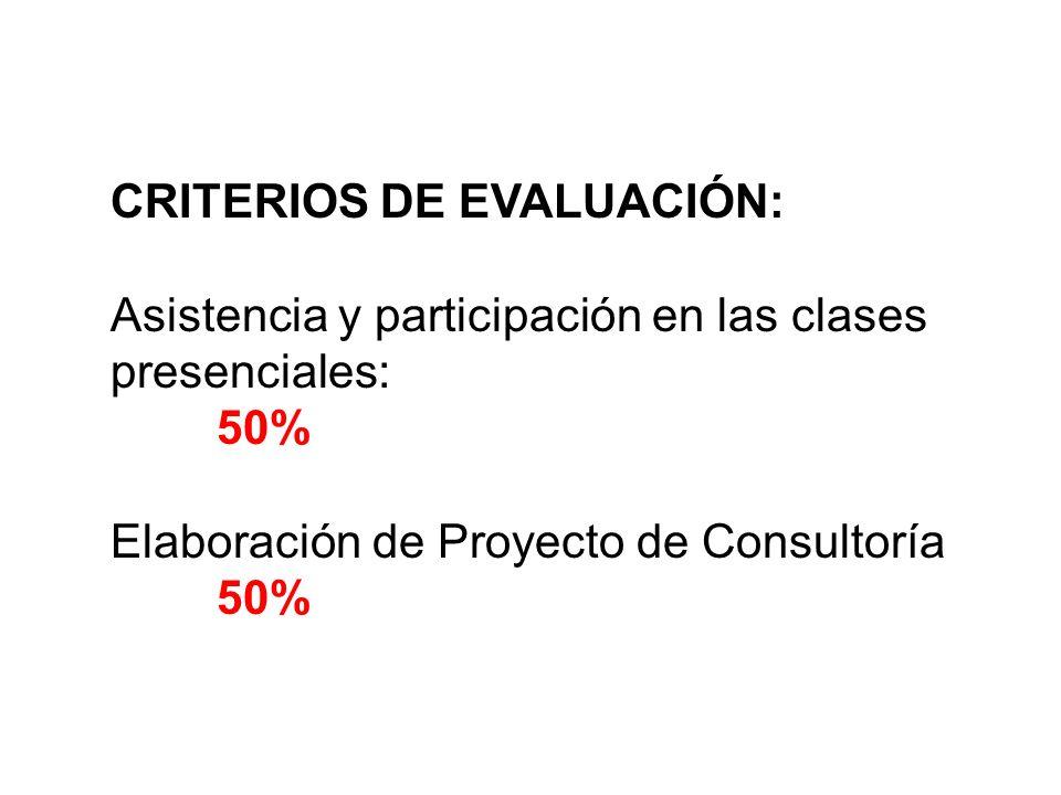 CRITERIOS DE EVALUACIÓN: Asistencia y participación en las clases presenciales: 50% Elaboración de Proyecto de Consultoría 50%