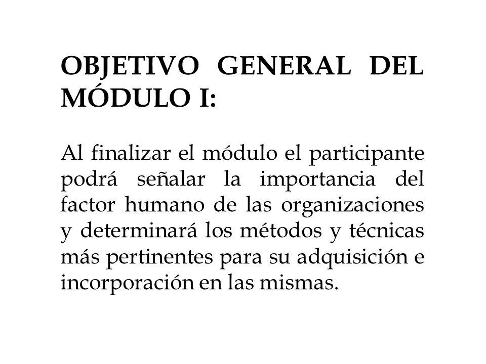 OBJETIVO GENERAL DEL MÓDULO I: Al finalizar el módulo el participante podrá señalar la importancia del factor humano de las organizaciones y determina