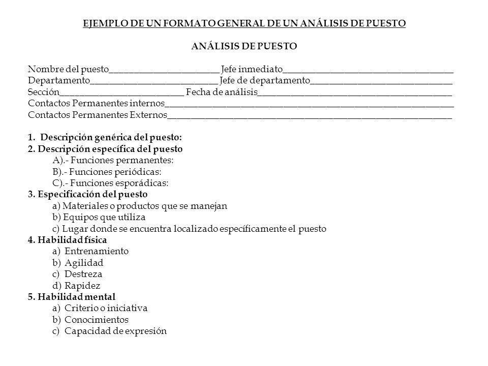 EJEMPLO DE UN FORMATO GENERAL DE UN ANÁLISIS DE PUESTO ANÁLISIS DE PUESTO Nombre del puesto_______________________ Jefe inmediato_____________________
