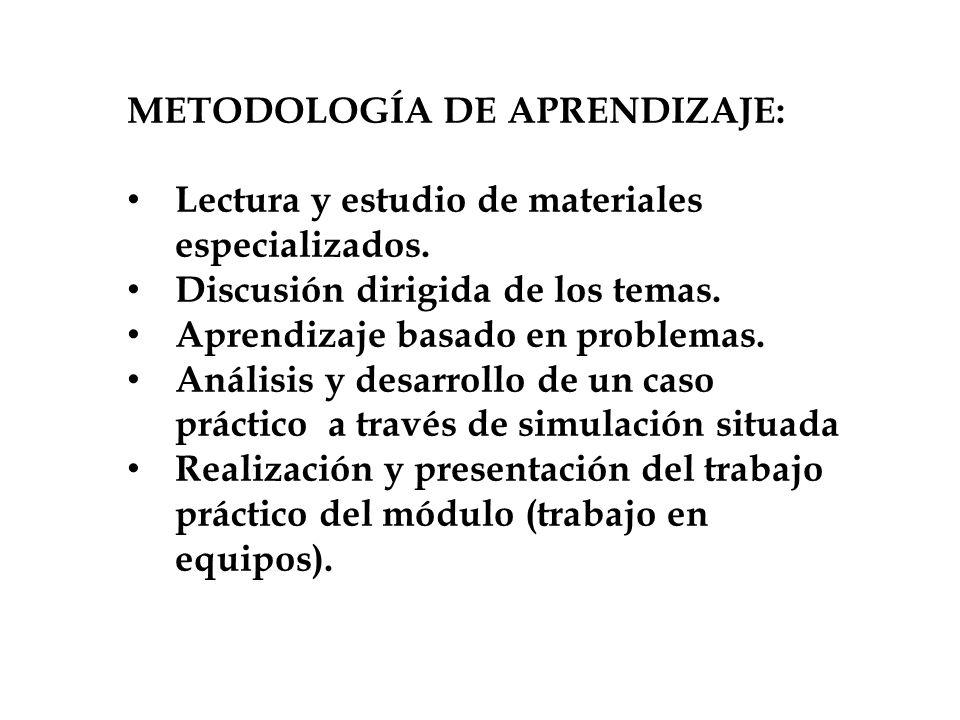 METODOLOGÍA DE APRENDIZAJE: Lectura y estudio de materiales especializados. Discusión dirigida de los temas. Aprendizaje basado en problemas. Análisis