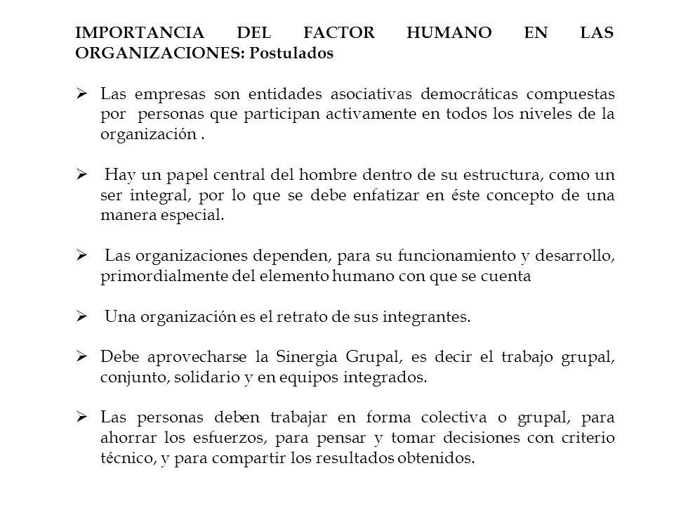 IMPORTANCIA DEL FACTOR HUMANO EN LAS ORGANIZACIONES: Postulados Las empresas son entidades asociativas democr á ticas compuestas por personas que part