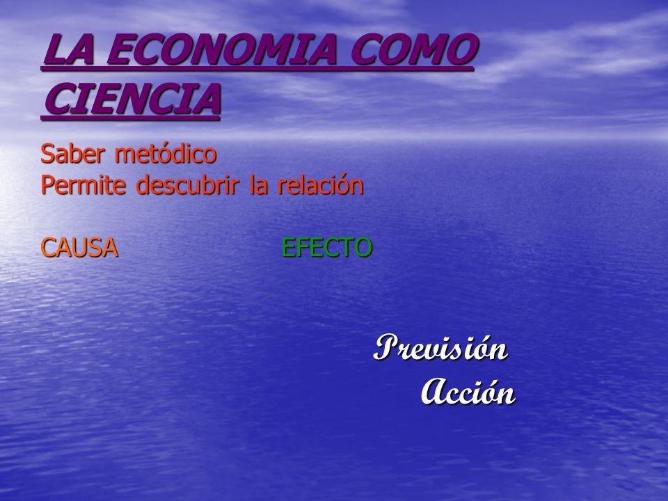 LA ECONOMIA COMO CIENCIA Saber metódico Permite descubrir la relación CAUSA EFECTO Previsión Previsión Acción Acción