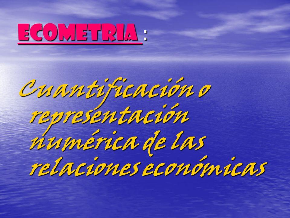 ECOMETRIA : Cuantificación o representación numérica de las relaciones económicas