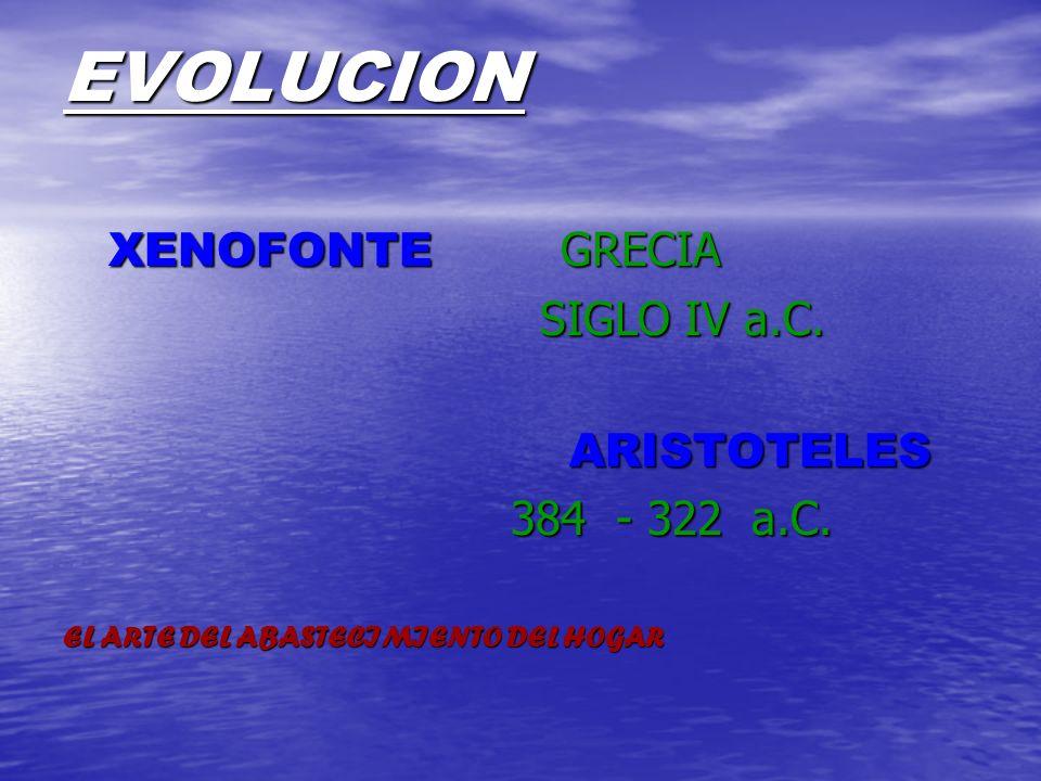 EVOLUCION XENOFONTE GRECIA XENOFONTE GRECIA SIGLO IV a.C. SIGLO IV a.C. ARISTOTELES ARISTOTELES 384 - 322 a.C. 384 - 322 a.C. EL ARTE DEL ABASTECIMIEN