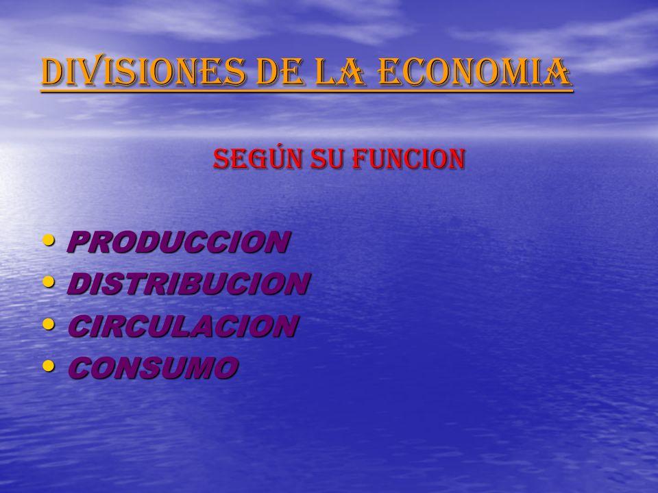 DIVISIONES DE LA ECONOMIA SEGÚN SU FUNCION SEGÚN SU FUNCION PRODUCCION PRODUCCION DISTRIBUCION DISTRIBUCION CIRCULACION CIRCULACION CONSUMO CONSUMO